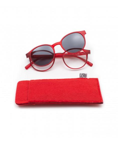 Gafa de lectura +2.50 dioptrias con clip solar Panto Roja
